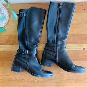 Franco Sarto Shoes - Franco Sarto Black Riding Boots w/ Stretchy Leg